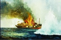 Artist's impression of the Kerry Head, first Irish ship to be deliberately attacked. This and other pictures in this article are details from paintings by the marine artist, Kenneth King.