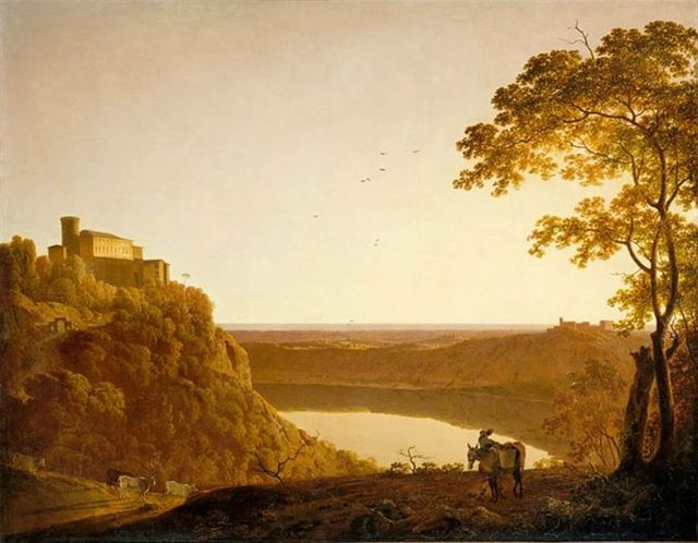 A painting of Lake Nemmi by Joseph Wright