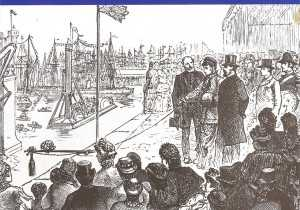 From the  'Illustrated London News', showing the Prince and Princess at the naming ceremony with Bindon Blood Stoney in attendance and the diving float and bell in the benter.