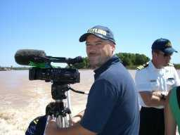 "Cameraman, Declan Cassidy of Timesnap Productions and Commander Mark Mellett of the Irish Naval Service pictured during filming of ""J.J. and the Admiral"" on the Parana river, Argentina."