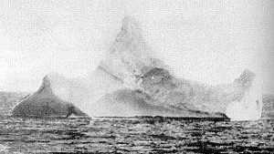 The iceberg with a streak of red paint, photographed 15 April from the Prinze Adelbert