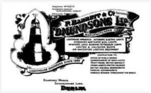 An advertisement for Edmundsons, a Dublin company which supplied lighthouses, worldwide