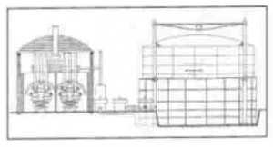 A drawing of a coal gas generating plant.  Coal is heated in ovens, gas is released from the coal.  This gas is then stored in an expanding tank