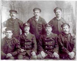 Light-keeping crew of Guillemot. Back row left to right: Unknown, Paddy Cogley, James Sinnot. Front row left to right: Bob Roche, Captain Rossiter, Martin Murphy, Peter Gaddren. Courtesy of the staff of the Guillemot in Kilmore Quay.