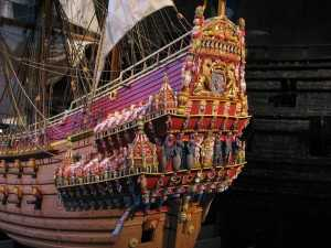 A copy of the stern of the Vasa with the magnificent carvings that were meant to impress the viewer with the power and the majesty of the state.
