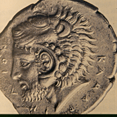 Hercules, with lion's head, on a Greek coin
