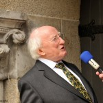 President Higgins being interviewed outside Maritime Museum_0012457
