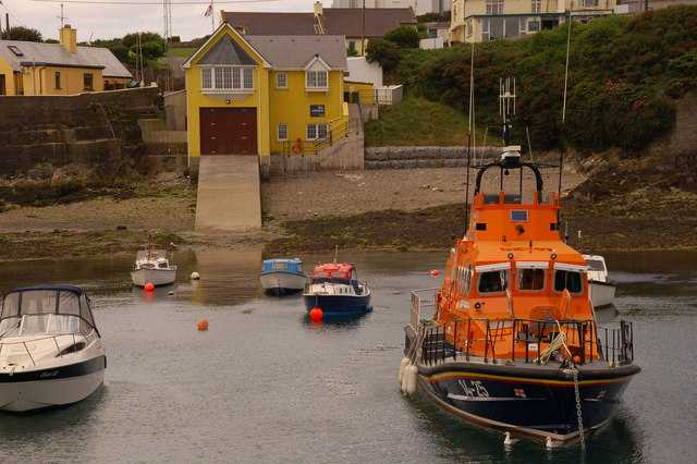 The current lifeboat Austin Lidbury and the new lifeboat station.