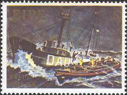 Postage stamp commerating 150 years of RNLI.