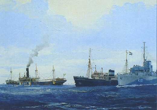Sunk in collision in Atlantic, 19th September 1941. The Dutch Tug Thames collided with the City of Waterford in convoy OG 74 Crew rescued by HMS Deptford and transferred to Walmer Castle