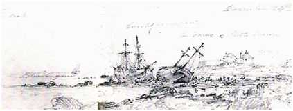 Colliers Fame and Larch, ashore in Sandycove, December, 1836.